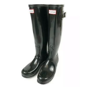 Hunter Original Black Glossy Tall Rain Boots 8